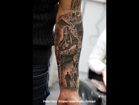 Tattoo  Samurai  Warrior Black Grey Forearm