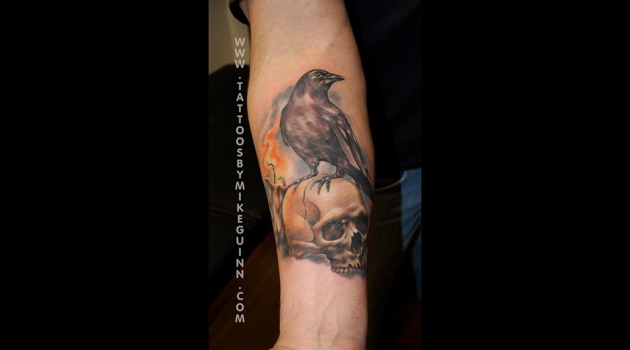 Tattoos Salem Ma  Mike Guinn  Tattoos Beverly Ma  Skull Tattoo Color Forearm