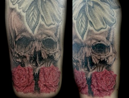 Skull  Roses  Black  Grey  Realism. Black Grey Shoulder