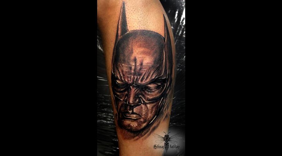 Batman Portrait Black Grey Lower Leg
