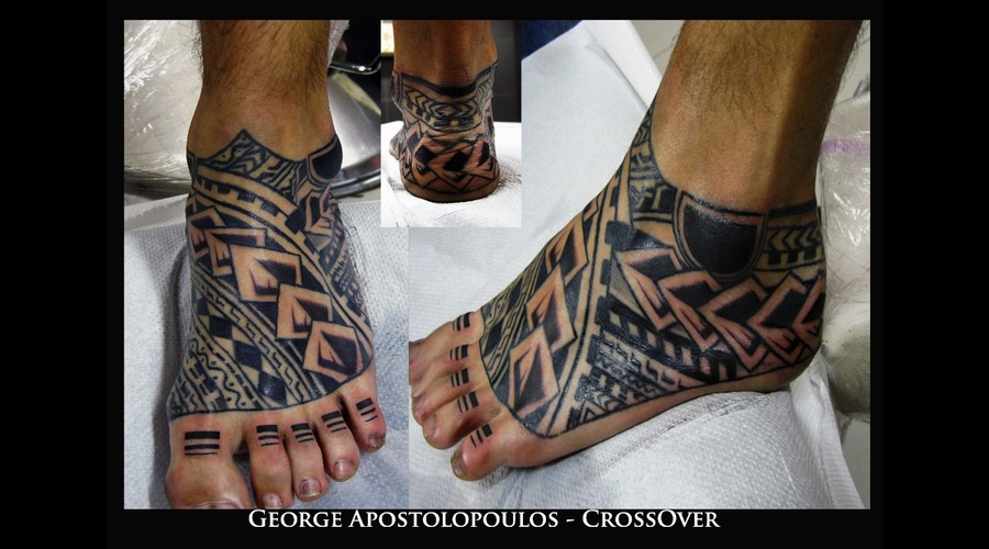 Samoa  Free Hand  Custom  Black Grey Foot