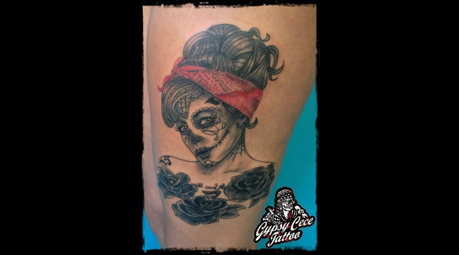 Sugar Skull Pinup Portrait Black Grey Thigh