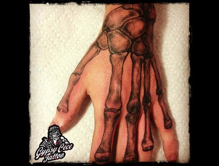 Realistic Hand Bones Black Grey Forearm