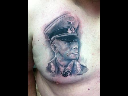 German Soldier Black Grey Chest