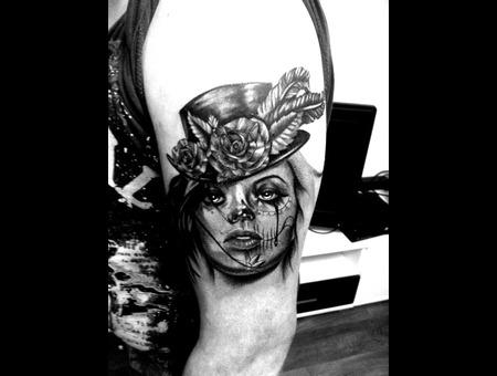 Dia De Los Muertos Portrait Black Grey Arm