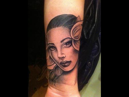 Flower Girl Black Grey Forearm
