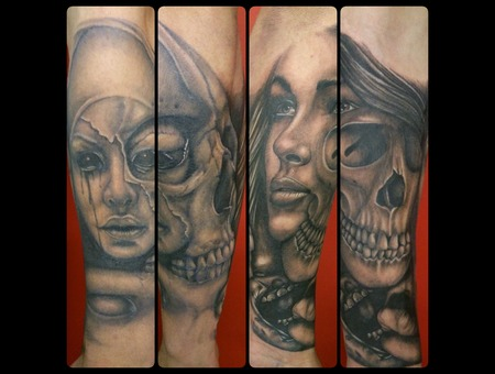 Horror  Face  Skull  Women Black Grey Forearm