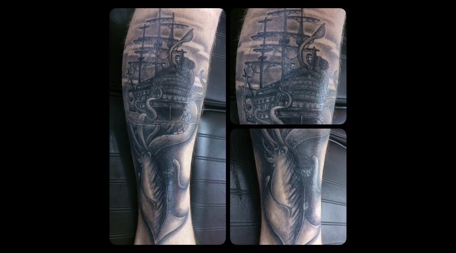 Pirate Ship  Kraken Black Grey Lower Leg