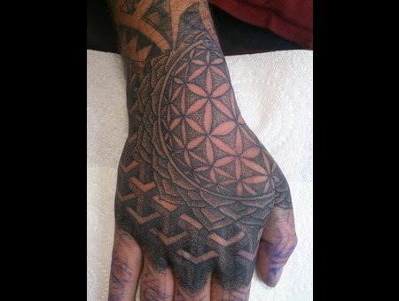 Hand  Mandala  Flower Of Life  Dot Work Black Grey Forearm