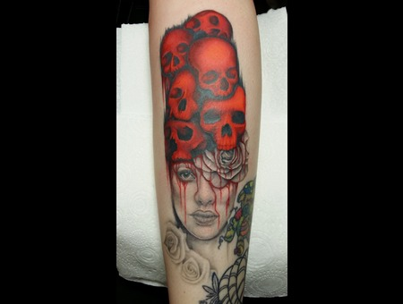 Face  Skulls Black Grey Lower Leg