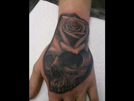 Hand Tattoo  Skul  Rose Black Grey Forearm