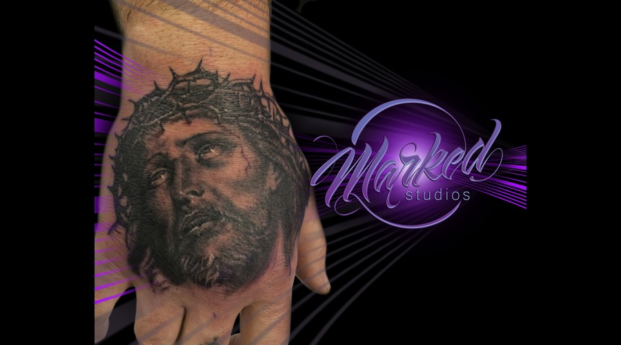 Jesus  Hand  Black And Grey Forearm