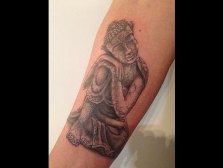 Buddha  Budha  Boedha  Realistic Black Grey Arm