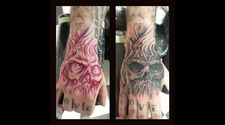 Freehand Tattoo By Olivia Moonchild 2014 (Fresh) Black Grey Forearm
