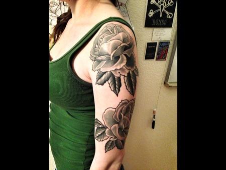 Rose Black&Grey Flower Arm Sleeve Repropriation Black Grey Arm