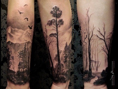 Forest Nature Mountains Black Grey Forearm