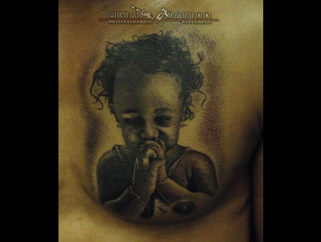 Girl Portrait Black Grey Chest