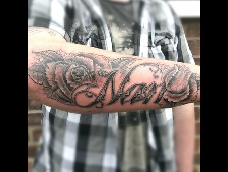 Script  Rose  Freehand  Black Grey Forearm