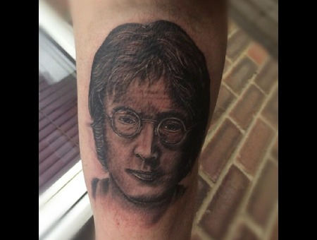 Johnlennon  Portrait  Singleneedle  Black Grey Arm