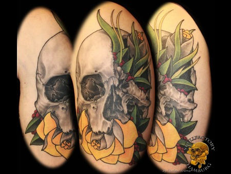 Healed  Skull  Flowers  Newschool  Realistic  Mix Color Arm