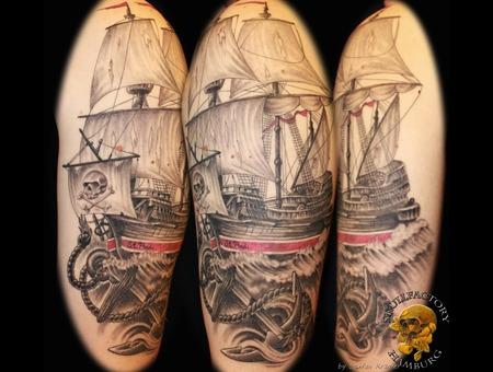 Healed  Ship  Sailing Ship  Anchor Black Grey Arm