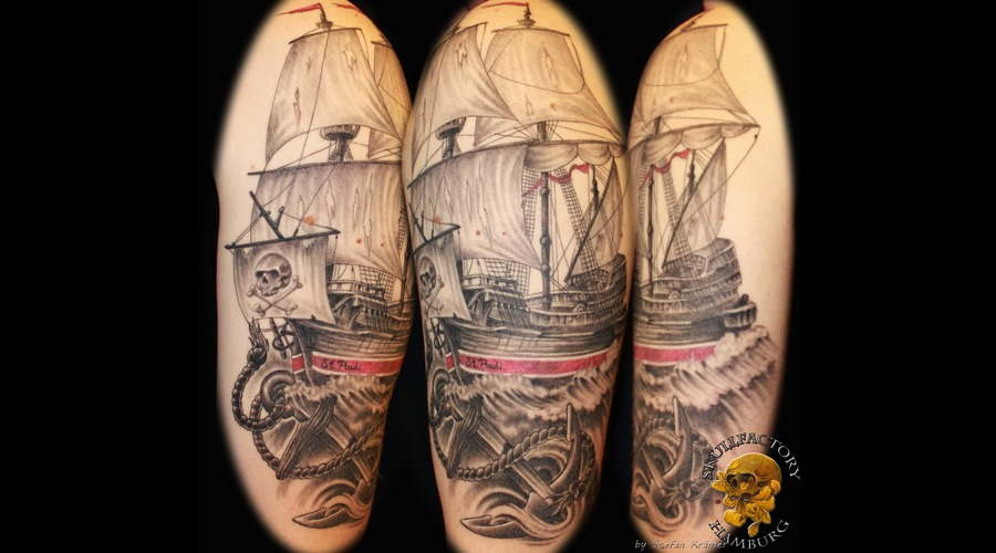Healed  Ship  Sailing Ship  Anchor Black Grey Arm