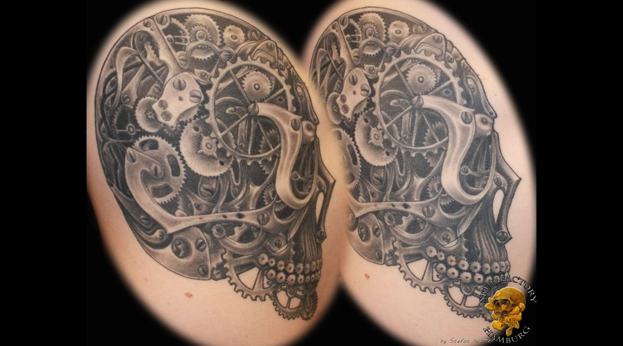 Healed  Skull  Toothed Wheels  Gearwheels  Clockwork Black Grey Ribs