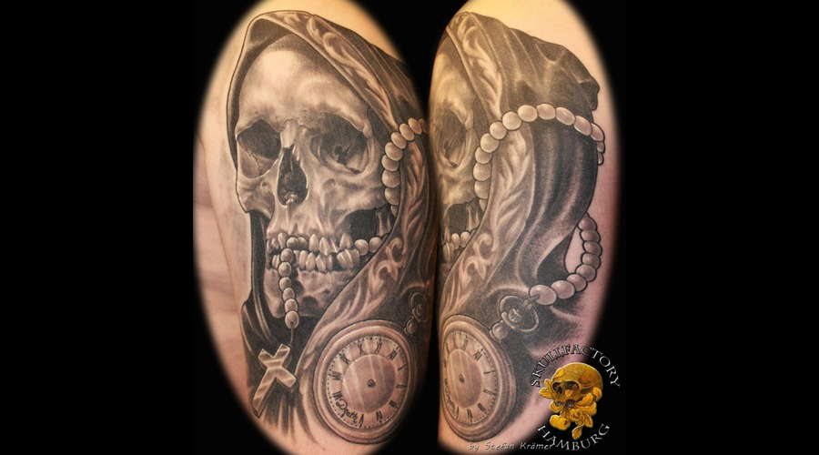 Healed  Skull  Death  Clock Black Grey Arm