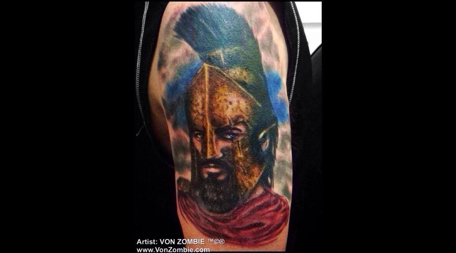 300  Leonidas  Portrait  Realism  3d  Metal  Color  Man  Movie  Spartan Color Arm