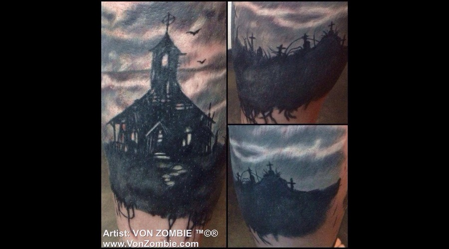 Scary  Church  Black  Grey Zombie  Dead   Black Grey Lower Leg