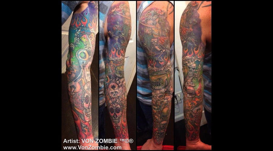 Hot Rod  Sleeve  Color  Skull  Car Color Arm
