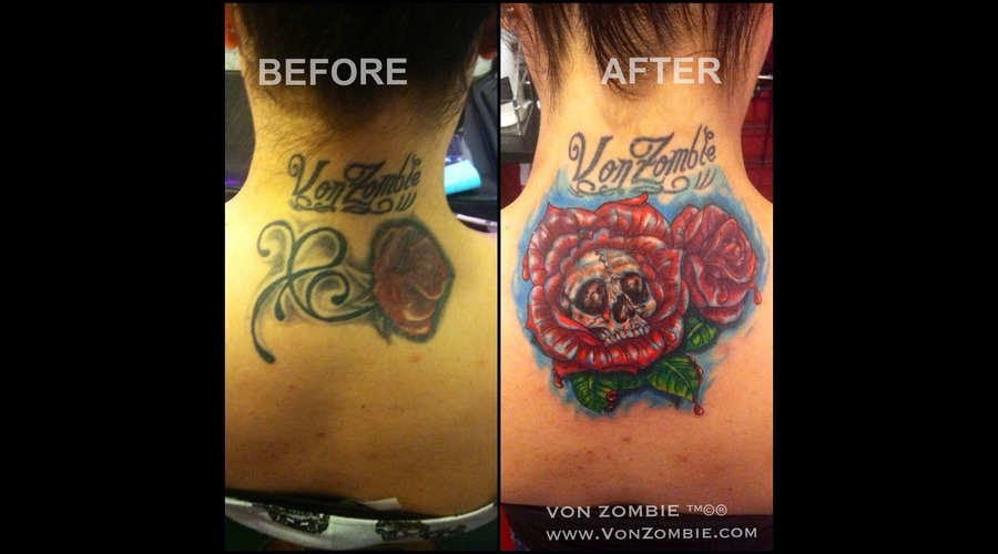 Cover Up  Illustration  Skull  Flower  Color  Red  Rose Color Back