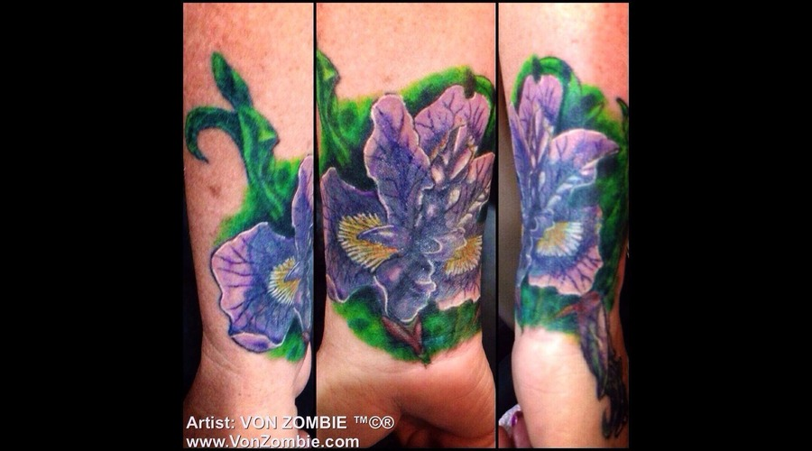 Iris  Flower  Realism  3d  Cover Up  Wrist Color Forearm