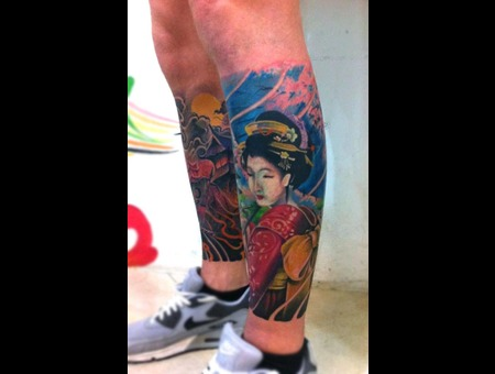 Japanese Style Color Tattoo Geisha Color Lower Leg