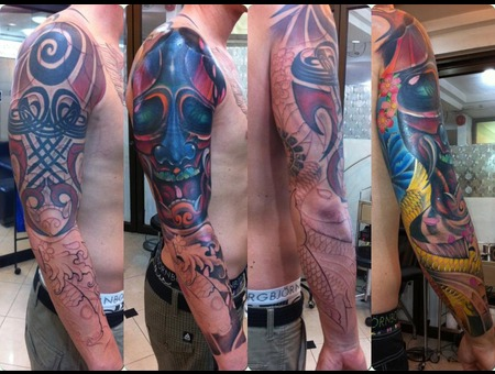 Japanese Style Color Tattoo Cover Up Tattoo Color Forearm