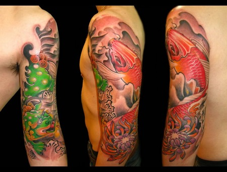 Japanese Style Color Tattoo Koi Fish Color Arm