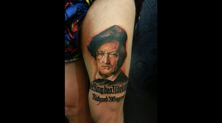Realism Tattoo Portait Tattoo Wagner Portait Color Thigh