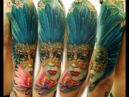 Canival Mask Tattoo Realism Color Arm
