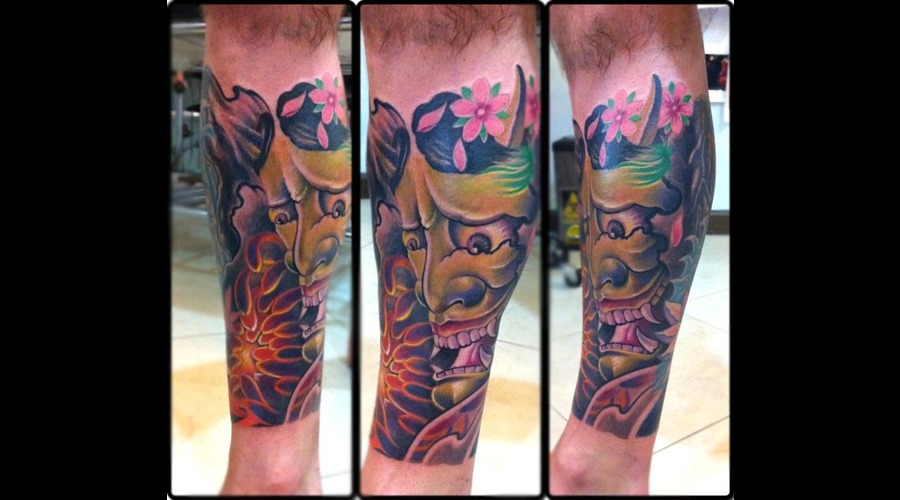 Japanese Style Color Tattoo Color Lower Leg