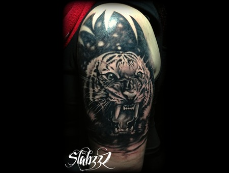 Tiger Tattoo Slabzzz Black Grey Shoulder