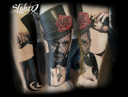 Day Of The Dead Man Tattoo Slabzzz Black Grey Forearm