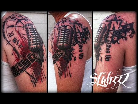 Trash Polka Microphone Tattoo Slabzzz Color Shoulder