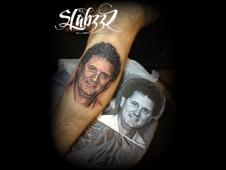 Portrait Tattoo Slabzzz Black Grey Lower Leg