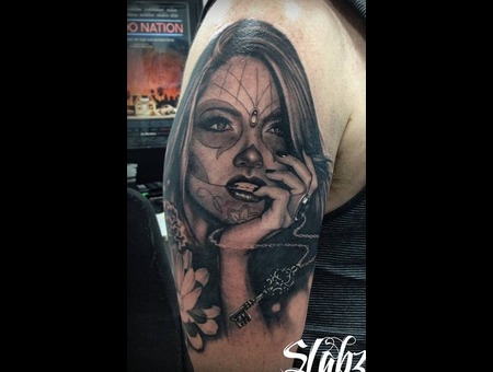 Day Of The Dead Girl Tattoo Slabzzz Black Grey Shoulder