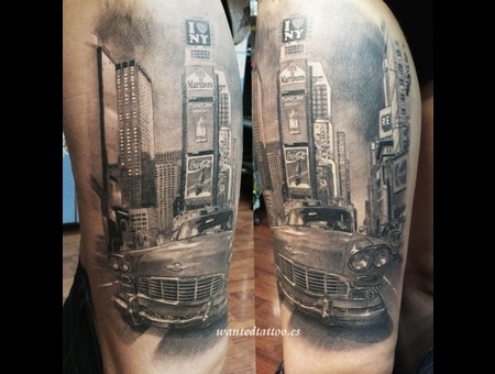 Landscape Tattoo  Time Square Tattoo  Car Tattoo  New York Tattoo   Black Grey Thigh