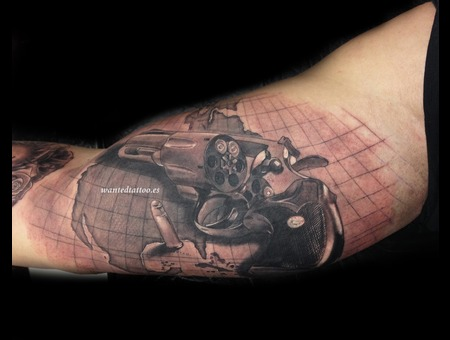 Map Tattoo  Gun Tattoo  Bullet Tattoo  Revolver Tattoo    Black Grey Arm