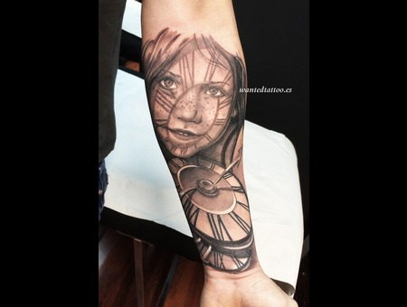 Girl Tattoo  Watch Tattoo  Freckled Girl Tattoo  Watches Tattoo   Black Grey Forearm