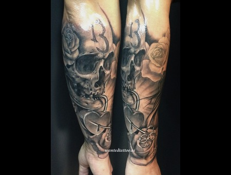 Skull Tattoo  13 Tattoo  Rose Tattoo  Padlock Tattoo  Roses Tattoo   Black Grey Forearm