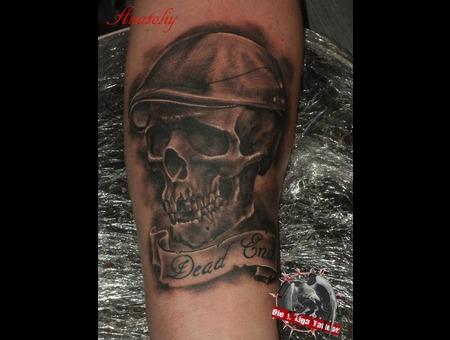 Skull Black Grey Forearm
