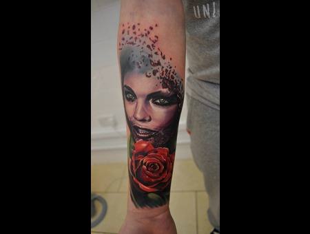 Realism Face Rose Color Tattoo Tattoos Ink Inked Eye Girl Surrealism Color Forearm